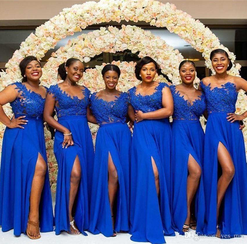 e32926f3f8e3 2019 New Cheap Royal Blue Bridesmaid Dresses Chiffon Lace Appliques Split  Floor Length Long Party Wedding Guest Dress Maid Of Honor Gowns Spring  Bridesmaid ...