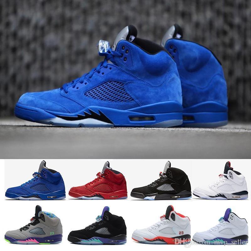 wholesale dealer 6eff8 b01b6 New 5 Premium Triple Black Mens Women Basketball Shoes White Cement Red  suede Blue Metallic Gold 5s sport Sneakers US 5.5-13