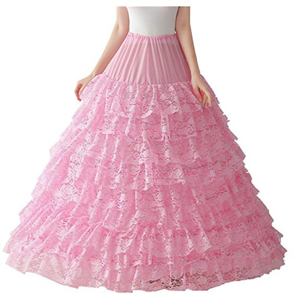 Fashion 9 Layers Petticoat Pink Lace Super Puffy Ball Gown Petticoat Underwear Wedding Accessory Underskirt For Long