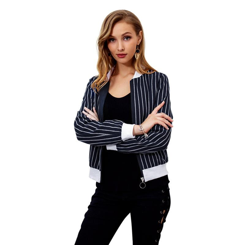 f2ea77309 Hot Women Spring Coat Balck and White Striped Basic Outwear Casual Slim  Long Sleeves Street Fashion Style Short Jacket Baseball Uniforms