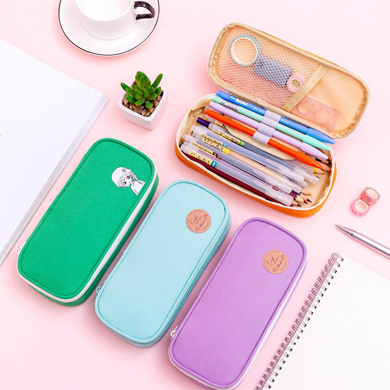 Kawaii big Pencil Case Zipper Large Capacity Cute Pencil Box Portable Storage Bag school supplies Multifunctional Stationery Box