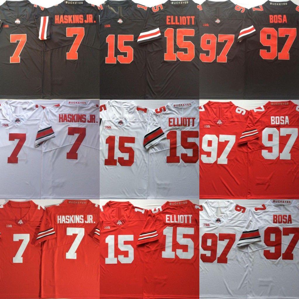 online store 012fe e65b8 Ohio State Buckeyes #7 Dwayne Haskins Jr. 15 Ezekiel Elliott #97 Nick Bosa  College Football Jerseys Free Shipping Size S to 3XL