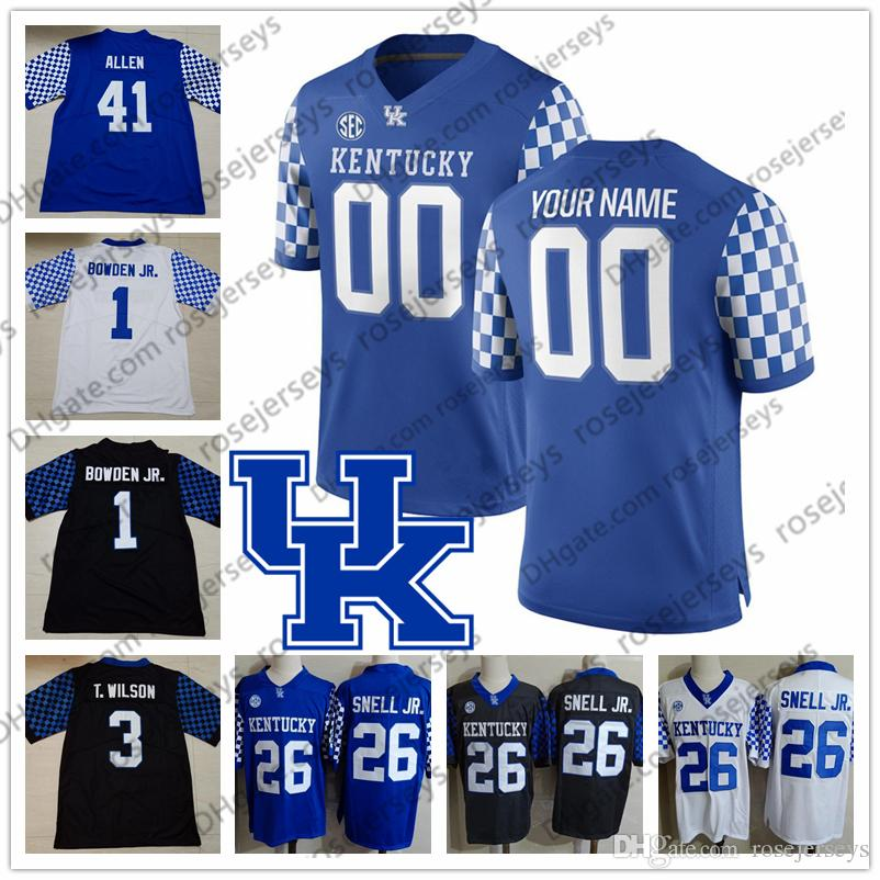 separation shoes 67b87 b74aa Custom Kentucky Wildcats 2019 Football Stitched Any Name Number Blue Black  White 26 Benny Snell Jr. 1 Lynn Bowden 3 Terry Wilson Jersey