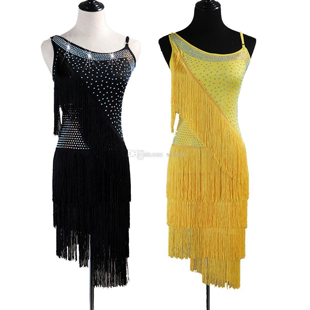 526e1158d0d Compre Vestido De Baile Latino Con Borla Mujer Salsa Latina Competencia De Baile  Vestidos Trajes De Baile De Samba D0523 Lujo Rhinestones Sin Respaldo A ...