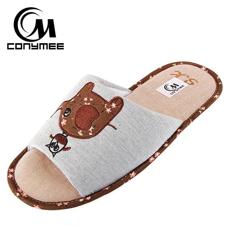 a6f073cd Compre Zapatos De Primavera / Otoño Mujer Zapatillas De Casa Zapatos De  Algodón Para Piso Interior Zapatillas De Lino Señoras Lindas Animales  Sandalias ...