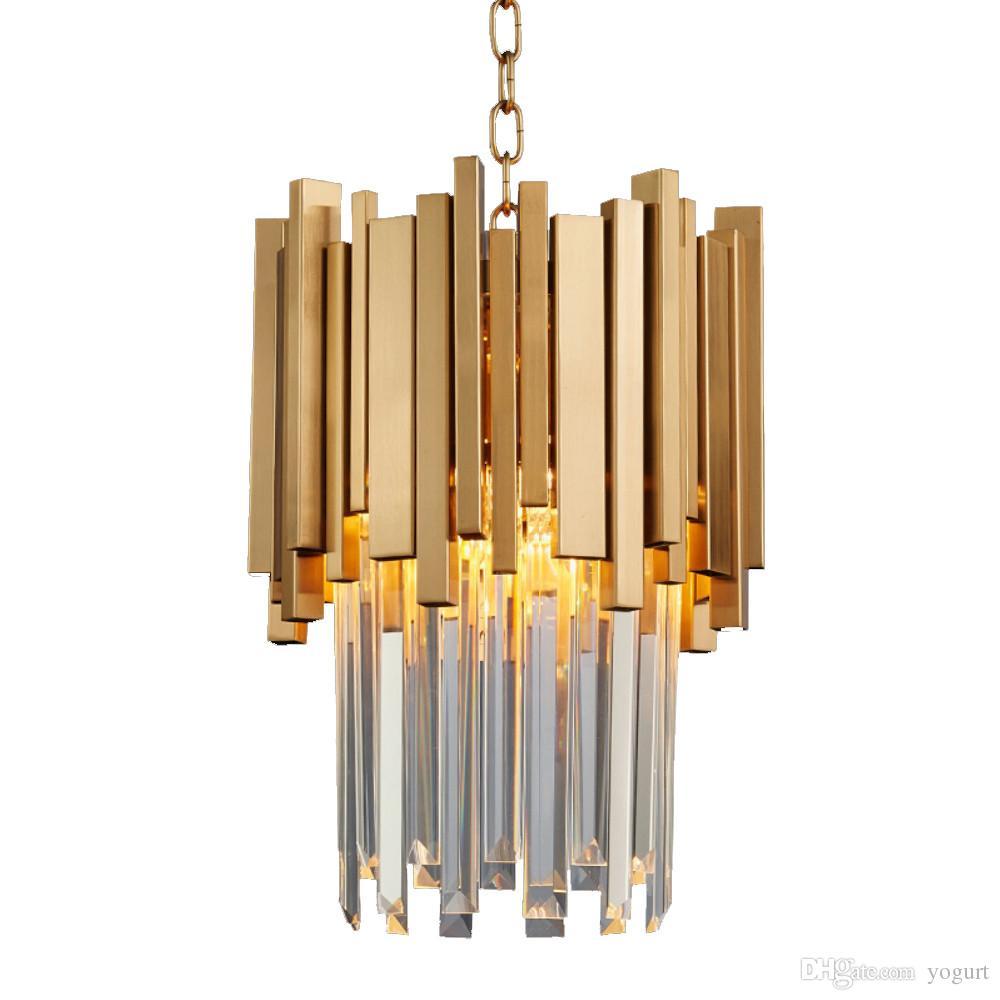 Modern gold pendant lights living room restaurant study led crystal lamp polished steel chain pendant lamp w30 x h40cm
