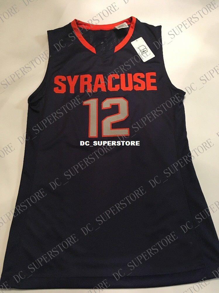 Cheap Custom Syracuse Orange Basketball Dark Blue Sewn 12 Jersey