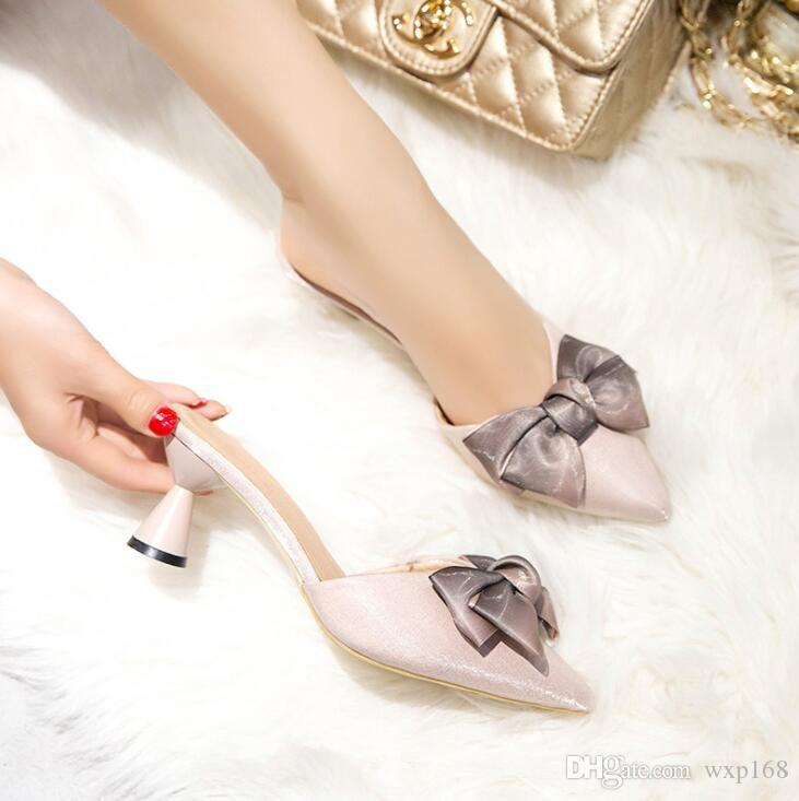5613e7f58524 Women Shoes High Heel Silk Cloth Bow Pointed Strange Pearl Heel Stiletto  Party Shoes Women Pumps Sandals Half Slippers Shoe Boots Sexy Shoes From  Wxp168