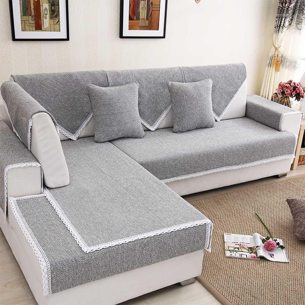 Modern simple linen cotton sofa cover fashion Solid fabric non-slip sofa  cushion towel shroud backrest Pillow Cushion Cover