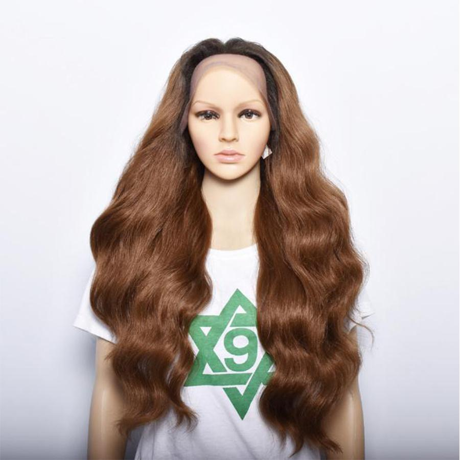 #4/30 Body Wave Ombre Synthetic Lace Front Wig Hand Tied Lace Wigs Kanekalon Mixed High Temperature Fiber Heat Resistant 250Degree Cheap Wig