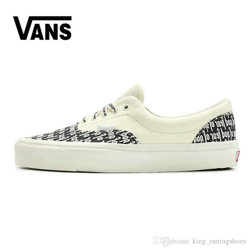 719a1f2c0a49 2019 Fear Of God Brand Vans Old Skool Classic Men Women Canvas Sneakers  Black White YACHT CLUB Red Blue Fashion Trainers Skate Casual Shoes From ...