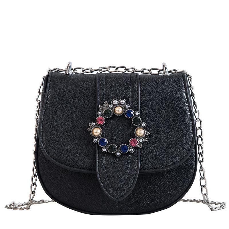 9e7fce02230b Luxury Diamond Round Buckle Fashion Designer Bag Casual Women Chain ...