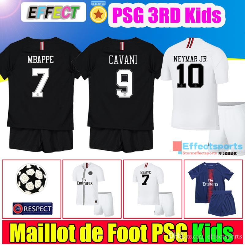 the latest ce228 e05bf 2018 PSG MBAPPE 7# Kids Kit Soccer Jerseys 18/19 Youth Boy Third Black 3Rd  CHAMPIONS LEAGUE Football Shirts Maillot de foot Uniform Socks