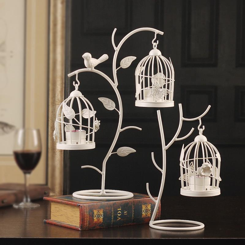Bird Cage Candlestick European Style Branch Candle Holders Iron Art