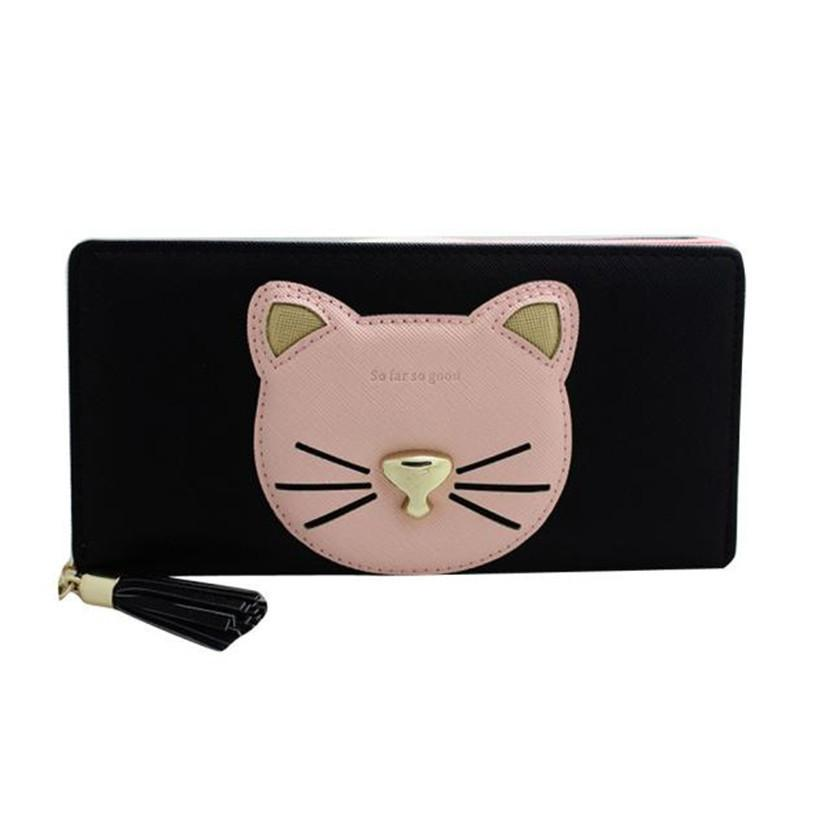 Women Zipper Wallet Cute Cat Pattern Ladies Leather Long Purse Clutch Coin Bag Wallet Card Holder Zipper Wallet For Women