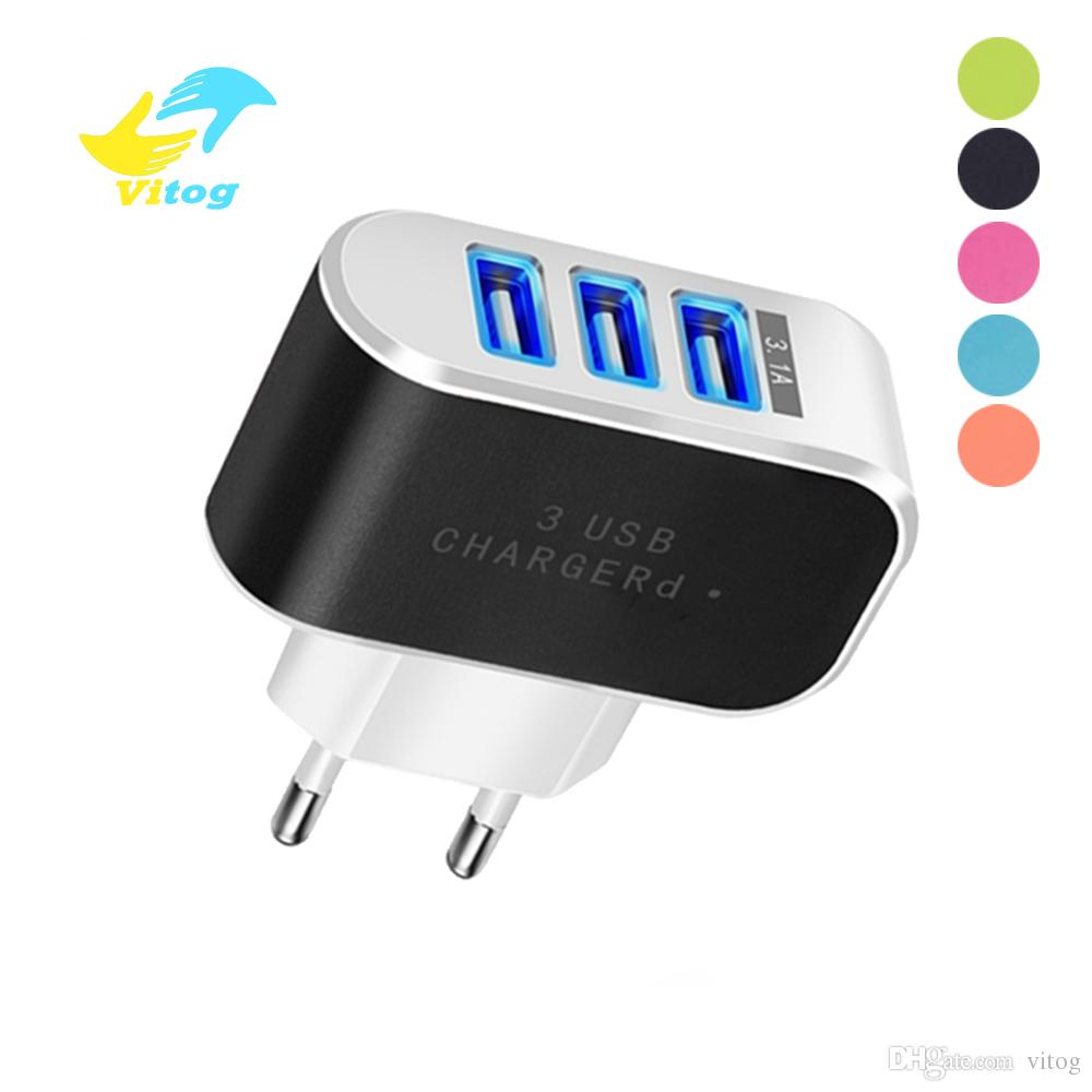3 Ports USB Charger 5V 2A USB Wall Power Adapter EU Charger Charging For Xiaomi Mi 9 Samsung Huawei Smart Phone Charger