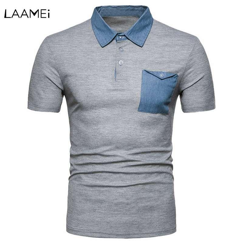 Laamei Men  Shirts  Denim Pocket Patchwork s Shirts Casual Male Short Sleeve  Shirt Camisa s Masculina