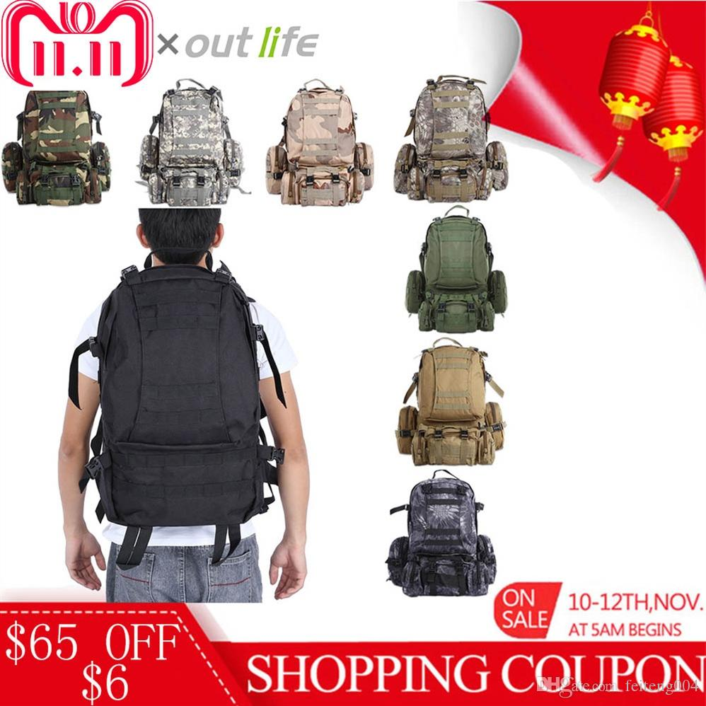 757ee6b85ad16 2019 Outlife 50L Military Tactical Backpack Molle Outdoor Bag Rucksack  Camping Hiking Bag Trekking Backpack Camouflage Sport Men  108453 From  Feiteng004