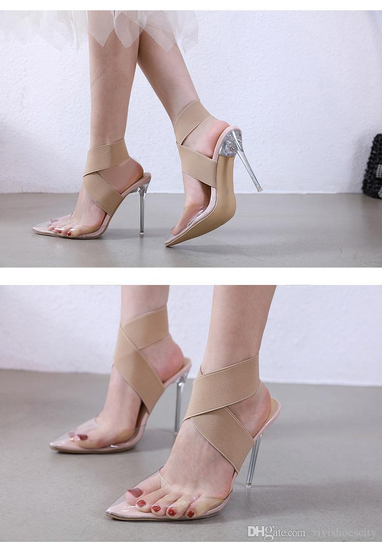 Plus la taille 35 à 40 41 42 bande élastique sangle croix nue talons hauts clair PVC transparent chaussures luxe concepteur femmes viennent avec la boîte