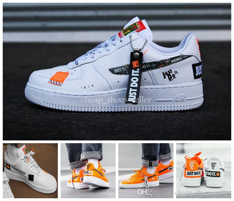 nike air force one Just Do it Zapatillas para correr para hombre 1 Zapatillas de deporte para mujer de la marca Utility Skateboard Forced One Sports White Orange Zapatillas de deporte de diseño