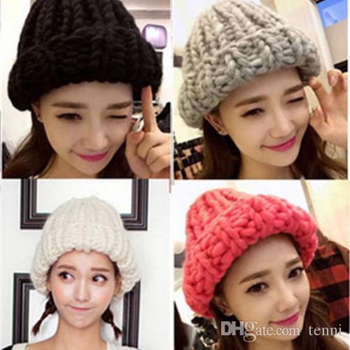 Stylish Women Girls Winter Knit Knitted Crochet Warm Caps Hat Adults  Outdoor Beanie Ski Crochet Neck Warm Hat Beanies Skullies Trucker Hats  Winter Hats From ... f332baafe5b