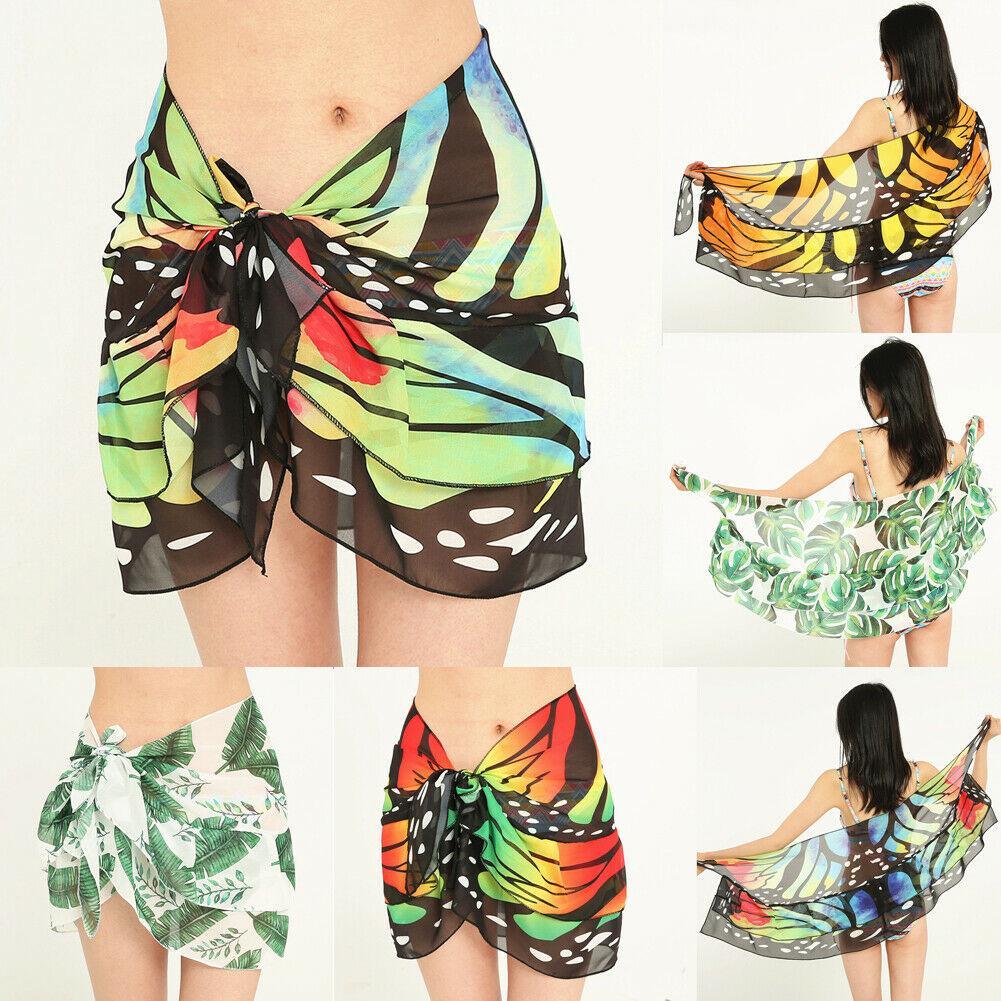 d30ff82f25512 Women's Chiffon Wrap Butterfly Leopard Dress Sarong Pareo Beach Bikini Swimwear  Cover Up Scarf Summer Bathing Suit One