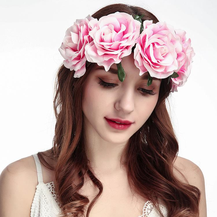 Flower Headband Headwear For Woman Girls - Artificial Rose Flower Wedding Party Bride Flower Crowns Hair Accessories Christmas gift