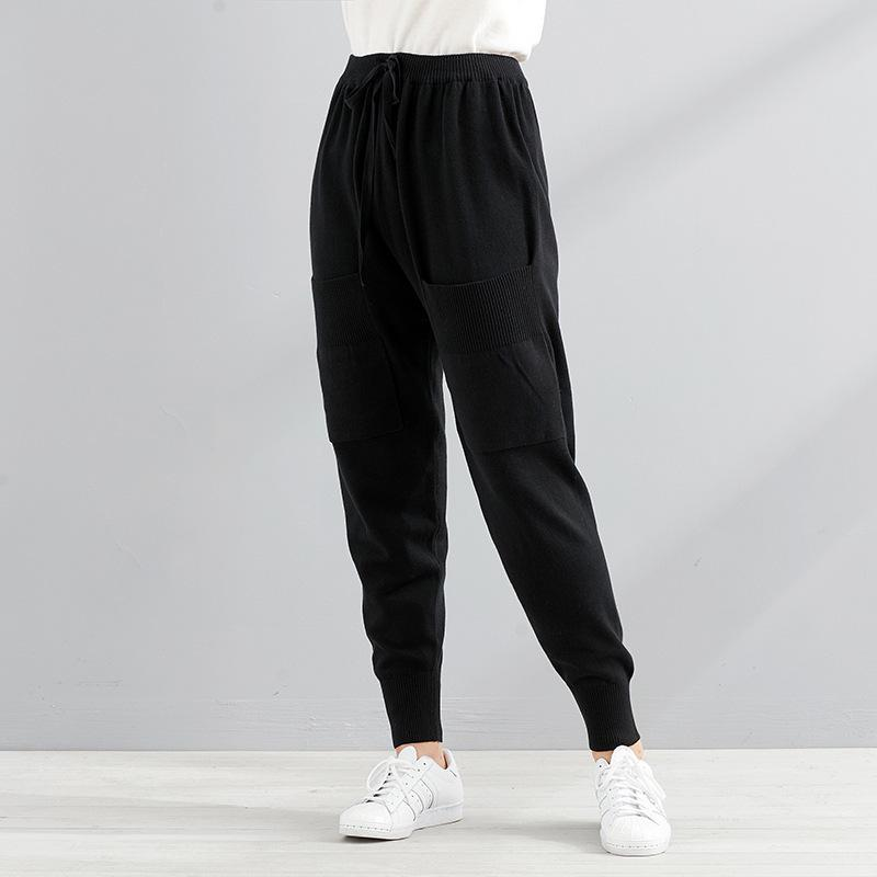 New Women Casual Harajuku Spring Autumn Big Size Long Trousers Solid Elastic Waist Cotton Linen Pants Ankle Length Pants 823 T5190606