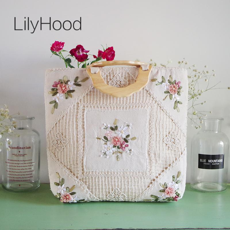 LilyHood Handmade Women Floral Embroidery Big Tote Bags Vintage Retro  Shabby Chic Burlape Jute Crochet Lace Book Wool Handle Bag D19011504 Duffel  Bags ... c271f58ddc2f