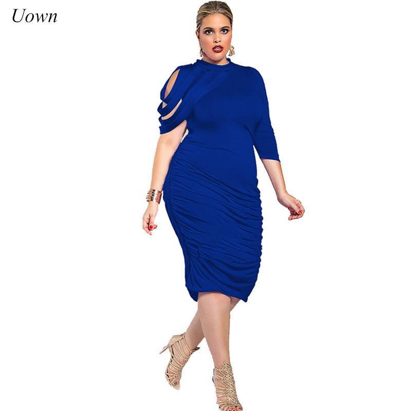 3ee266de18c 2019 Plus Size Women One Shoulder Long Sleeve Bodycon Midi Dress Fashion  Pleated Sheath Wrap Pencil Dress Club Party Evening Vestidos From Lin 04