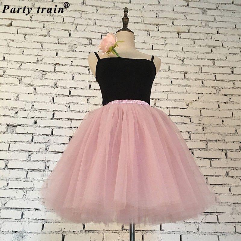 75554a83a Faldas para mujer 7 capas Midi Falda de tul Moda Tutu Faldas Mujeres  Vestido de fiesta Fiesta Enagua Lolita Faldas Saia