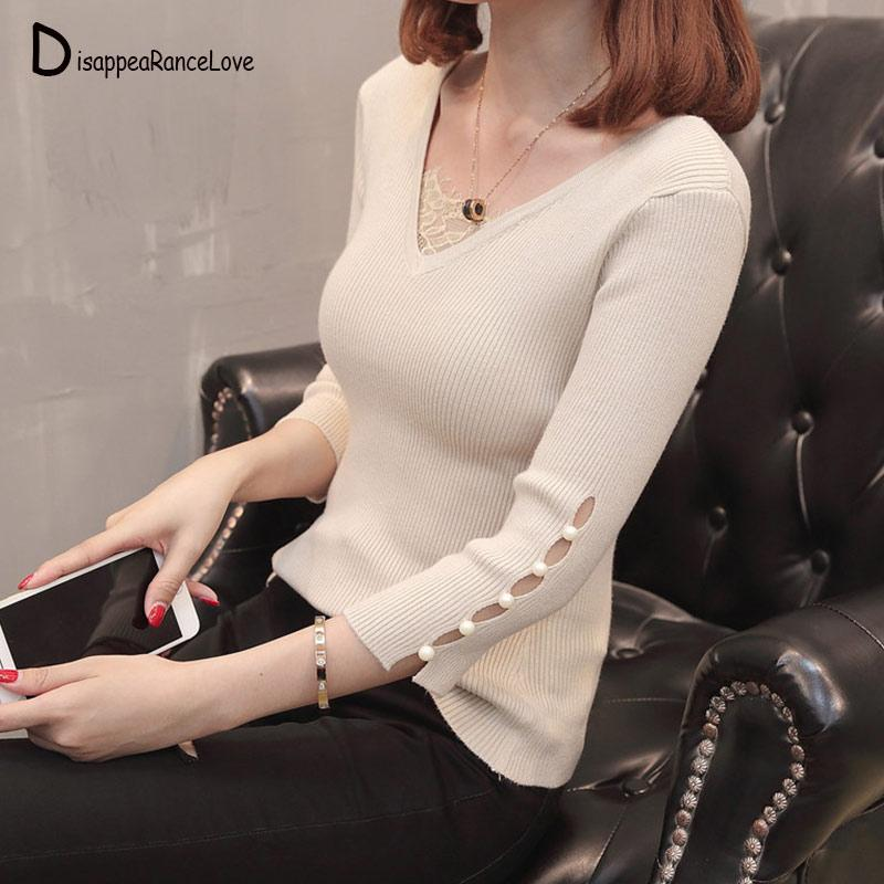 2019 Long Sleeve Knitted Women Lace Sweater Casual Solid Pullovers Sexy V Neck Cotton Winter Woman Sweater Knitting Pullover