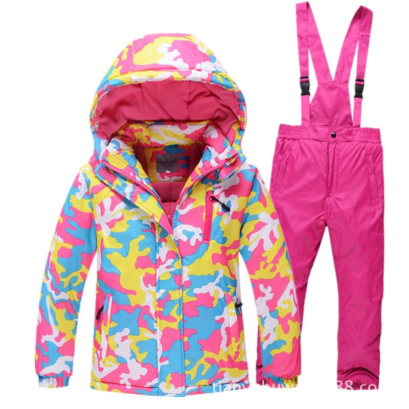 7843131a60f1 2019 Boys Girls Ski Suits Warm Waterproof Children Skiing ...
