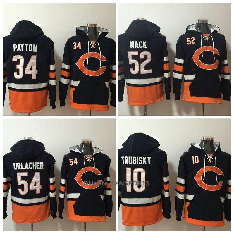 Men Chicago Bears Hoodie 10 Mitchell Trubisky 52 Khalil Mack 34 ... fb99966ed
