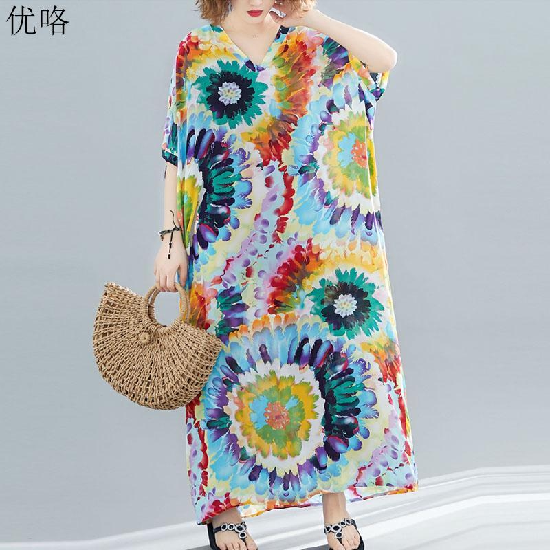 94721a53 2019 Summer Fashion Plus Size 4XL 5XL 6XL 7XL 8XL Bohemia Dresses Women Art  Print Floral Maxi Sundress Cotton Linen Beach Dress