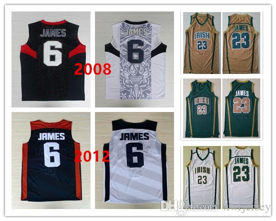 27d57a25a3f 2019 Mens St.Vincent Mary High School Irish 23 James Jersey 2008 2012  Olympic Dream Team 6 James Basketball Jerseys Shirt ALL Stitched S XXL From  Xwfjersey