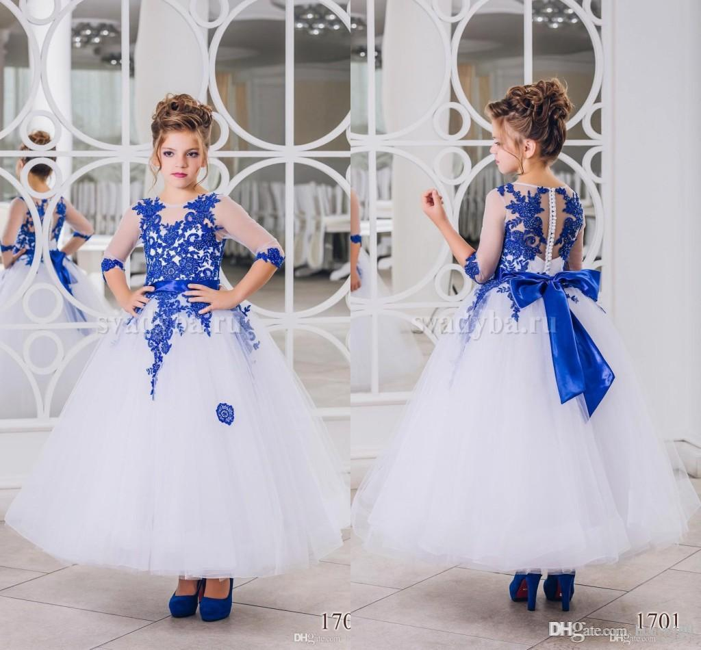 cdcb15386395 Royal Blue Jewel Neck A Line Tulle Flower Girls Dresses 2018 Sheer Long  Sleeves Lace Appliqued Girls Pageant Wear First Communion Aqua Flower Girl  Dresses ...