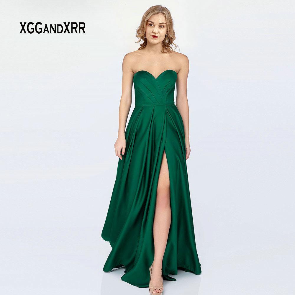 a1573698c9 Vestito da sera lungo verde sexy Vestito da sera 2019 Sexy spacco laterale  Blu scuro Abito da cerimonia formale da sera con spalle scoperte