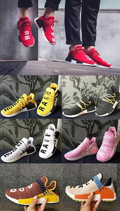 c656244e10a45 2019 Human Race Hu Trail Pharrell Williams Running Shoe X Nerd Black Cream  Holi Mens Trainers Women Designer Sports Runner Sneakers 36 47 White Shoes  Wedges ...