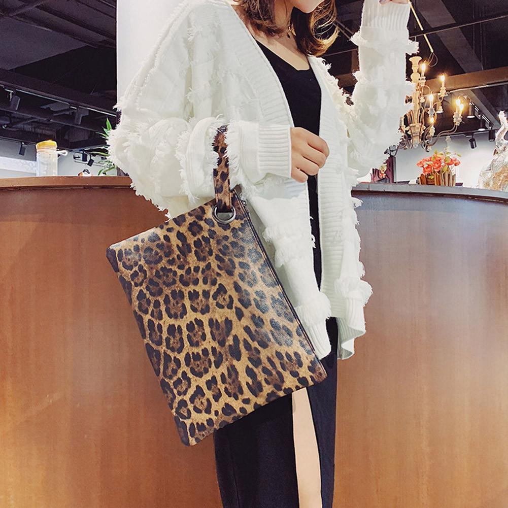 Women's PU Leopard Print Evening Clutches Hand Bags Temperament Elegant Retro Fashion Clutch Bag Vintage Handbag Ladies Handbags