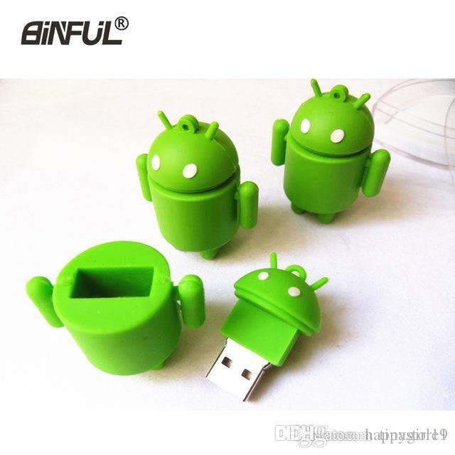 Tina Happy robot usb flash drive cartoon android pen drive 4GB 8GB 16GB 32GB 64G verde U Disco flashdrive memory stick machine pendrive