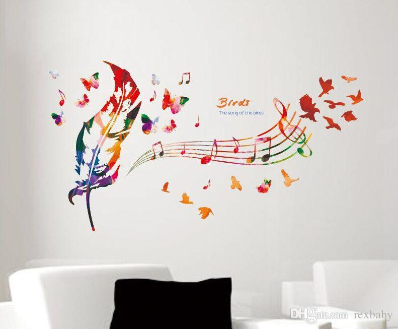 Music Note Colorful Feather Wall Decals Butterfly Pattern