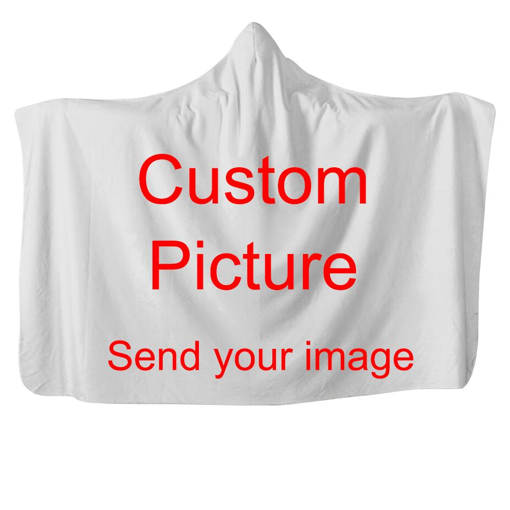 Personalizza Dropshipping 3D coperta con cappuccio peluche stampato per adulti Kid Wearable Fleece Custom Throw Blankets Bed Sofa