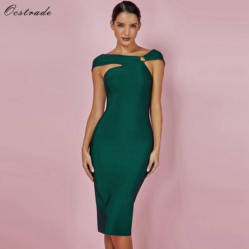 4b9b4b9f95 Ocstrade Bandage Party Dresses 2019 New Arrivals Green Bandage Bodycon  Rayon Dress Sexy Off Shoulde Knee Length Bandage Dress Q190417