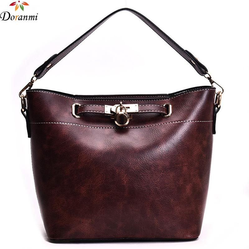 67b726e4d5 DORANMI Large Bucket Handbag Women s Bag 2018 Fashion Totes Bag Female  Crossbody Messenger Solid Leather Shoulder Bags DJB032