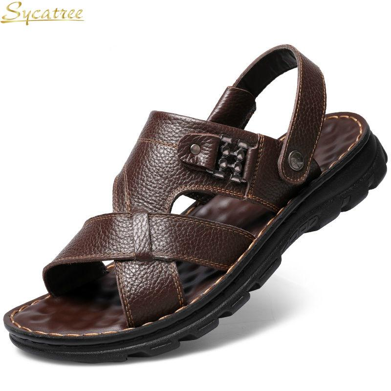 3bd991dc2 Sycatree 2019 New Brand Genuine Cow Leather Sandals Summer Men Water Shoes  Big Plus Size 47 Beach Sandals Slippers Casual Shoes Wedge Shoes Womens  Sandals .