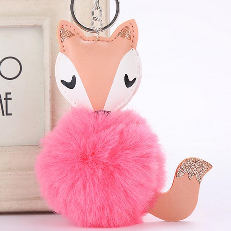 2018 Cute Pink Fluffy Pompom Shining Fox Keychain Women Faux Rabbit Fur  Ball Pompon Key Chain Car Bag Pom Pom Key Holder Gift Key Ring Holder Photo  Keyring ... 3052c9ef4c6a
