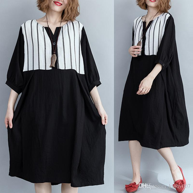 44a15a063db6f Women Vintage Loose Spring Summer Striped Plus Size Dress Ladies Patchwork  Flax Splice Dress Retro Female Loose Dress 2019 With Pockets Green Junior  Dresses ...