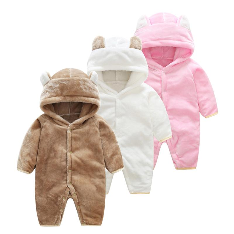 20f331d5b3ab3 2019 Girl Baby Winter Clothing 2018 Flannel Newborn Baby Boy Dress Animal  Onesie Jumpsuit Baby Pink Girls One Piece Infant Clothes Y18120601 From  Shenping02 ...