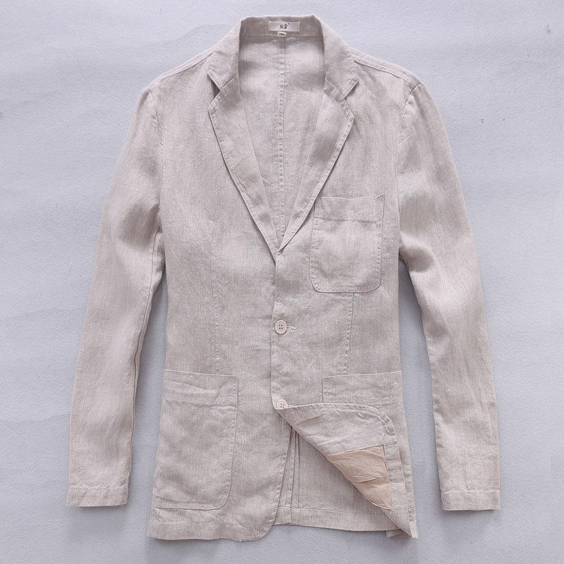 Italy brand white jacket men spring long sleeve linen men jacket pure flax fashion clothing jackets casual jaqueta masculina